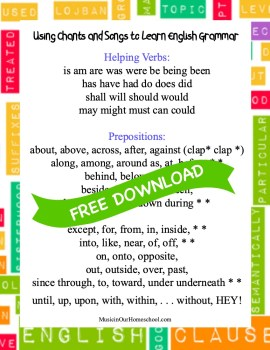 FREE DOWNLOAD Using Chants and Songs to Learn English Grammar printable