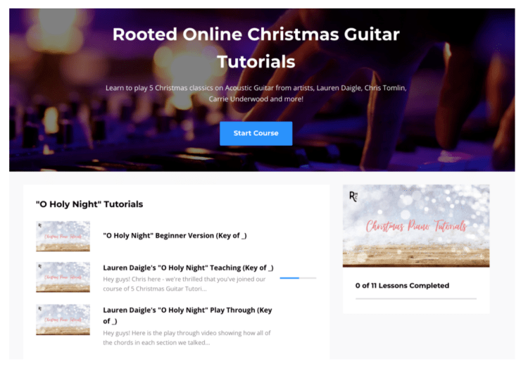 Rooted Music Online Guitar Tutorial for Christmas music