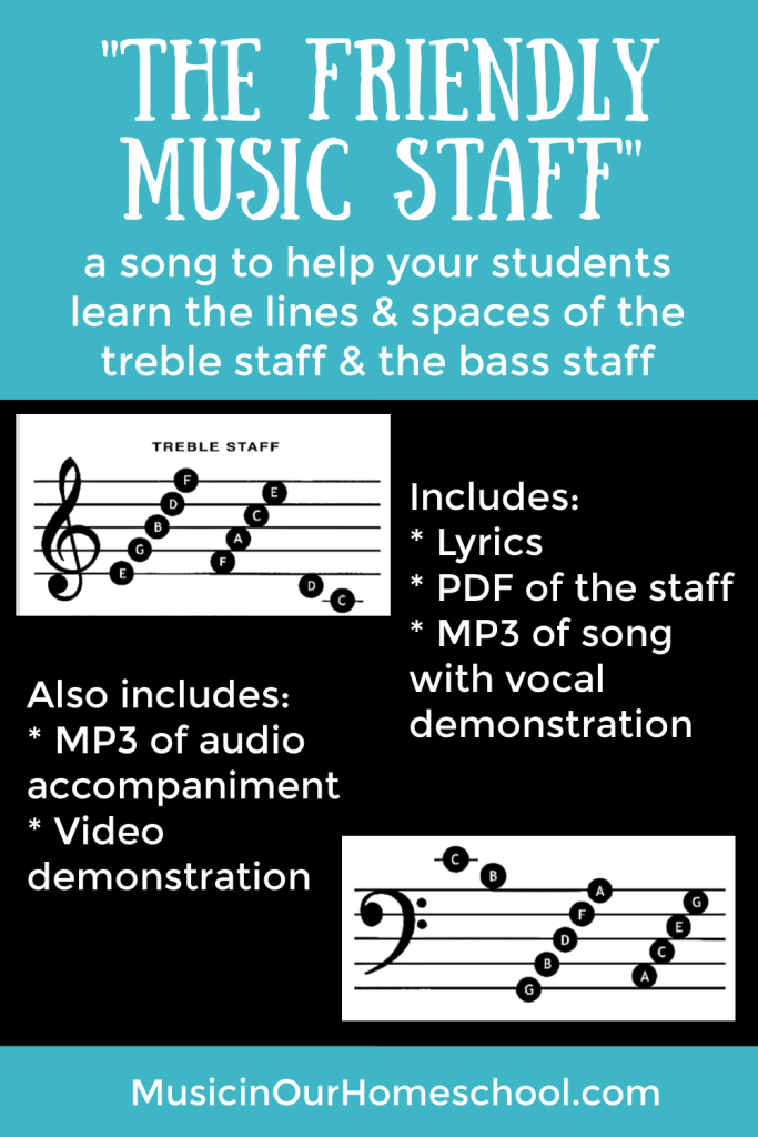 """The Friendly Music Staff"" is a song to teach your students about the lines and space names of the notes of the treble and bass clef staves."