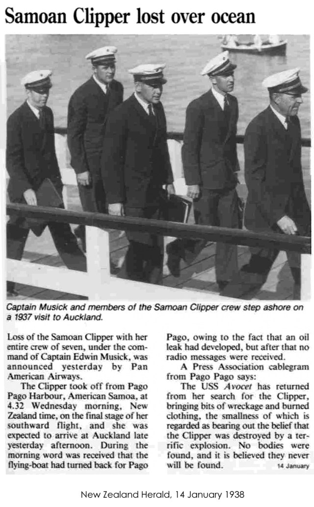 New Zealand Herald reports on the loss of Captain Edwin Musick and the crew of the Samoas Clipper
