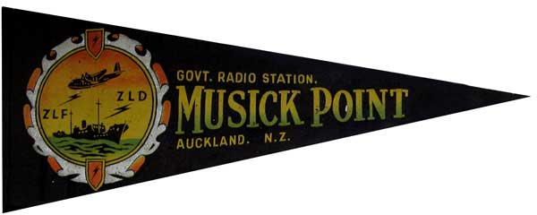 This souvenir pennant was designed around 1947 by radio technician Norman B Smith, who was also a radio amateur ZL1ST. It hangs in the Memorial Hall at the Musick Memorial Radio Station.