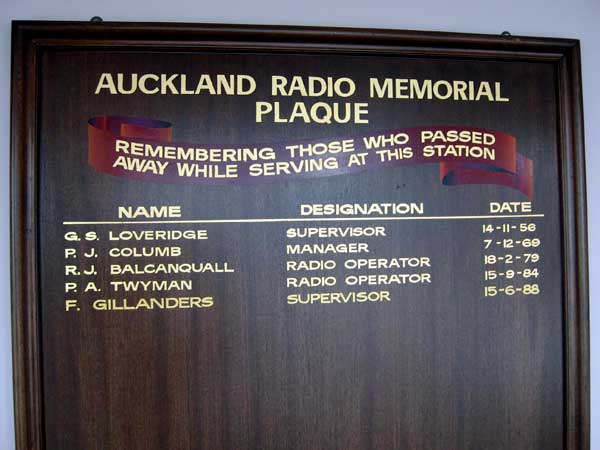 Staff of Auckand Radio who died while working at the station. This plaque hangs in the Musick Memorial Radio Station at the top of the stairs to the first floor.
