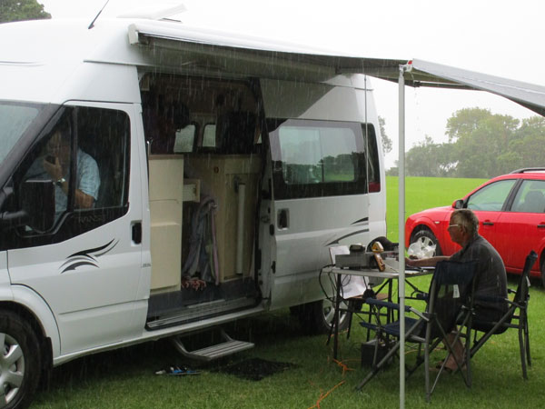 Pete ZL1AAM operating from his campervan during Field Day, 27 February 2016