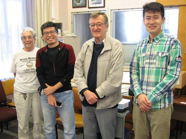 Ann ZL1BFB, Dennis 9W8DEN, Pete ZL1AAM and Kahn BG5HSC at Musick Memorial Radio Station, 28 May 2017