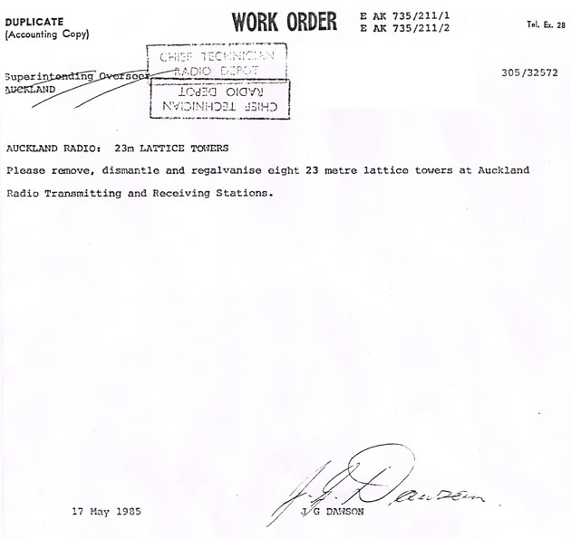 work order to regalvanise Auckland Radio towers