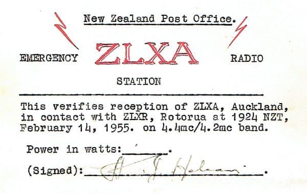 ZLXA QSL card