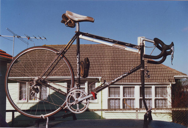 Tony Graham's road bike on top of his Triumph 2500 TC car at Musick Point, c1990.