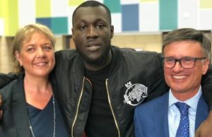 Stormzy with his old teachers from Harris Academy in Crystal Palace PHOTO CREDIT: BBC