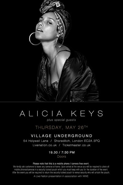 Alicia Keys Announces Intimate Show At London's Village Underground