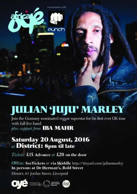 Julian Marley heads to Liverpool on first ever UK tour this August
