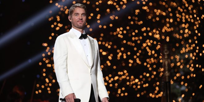 """Brett Young performing at the 2019 """"CMA Country Christmas"""" special filmed at Belmont's Curb Event Center in Nashville, Tennessee. """"CMA Country Christmas"""" will air on Tuesday, December 3 on ABC."""