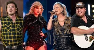 Morgan Wallen, Taylor Swift, Carrie Underwood and Luke Combs; Photos By Andrew Wendowski