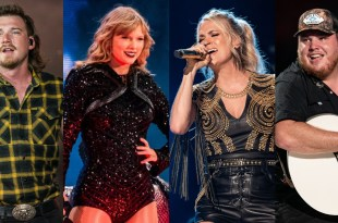 Morgan Wallen, Taylor Swift, Carrie Underwood and Luke Combs; Photos By Andrew Wendowski