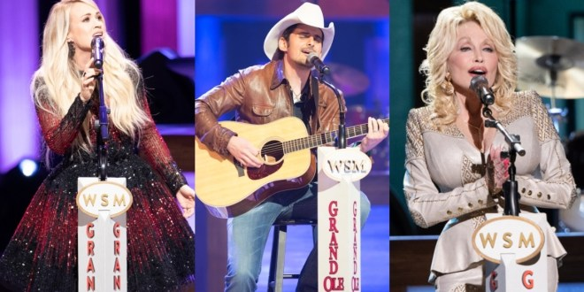 Carrie Underwood, Brad Paisley, Dolly Parton; Photos Courtesy of Opry