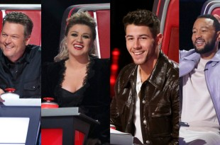 Blake Shelton, Kelly Clarkson, Nick Jonas and John Legend; Photos Courtesy of NBC