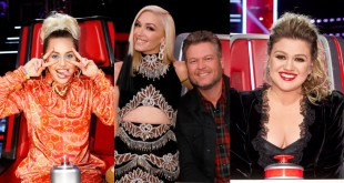 Miley Cyrus, Blake Shelton, Gwen Stefani, Kelly Clarkson; Photo Courtesy of NBC's The Voice