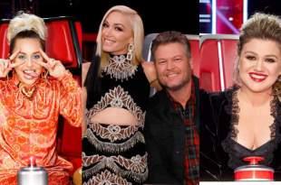 Miley Cyrus, Blake Shelton, Gwen Stefani, Kelly Clarkson; Photo Courtesy of NBC's The Voice