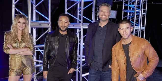 Kelsea Ballerini, John Legend, Blake Shelton, Nick Jonas; Photo by Trae Patton/NBC