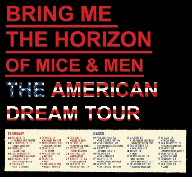 BMTH, OFM&M, ISSUES, NORTHLANE, Philadelphia The American Dream Tour 2014