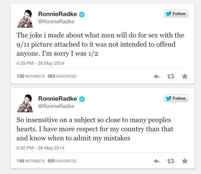 Ronnie Radke Apologizes