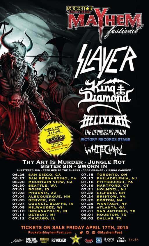 Mayhem Festival 2015 Lineup Revealed Featuring SLAYER, KING