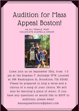 Auditions for Post Collegiate All Female Acapella Group