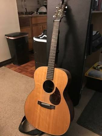 Custom copy of a Martin acoustic guitar w/ case and capo
