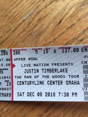 2 Justin Timberlake Concert Tickets