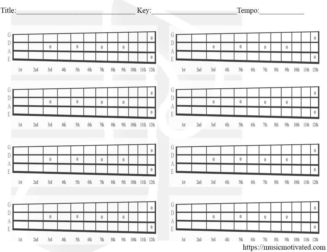 Blank Chord Tabs For All Instruments Rh Musicmotivated Com Printable Blank  Tab Paper Blank Staff Paper