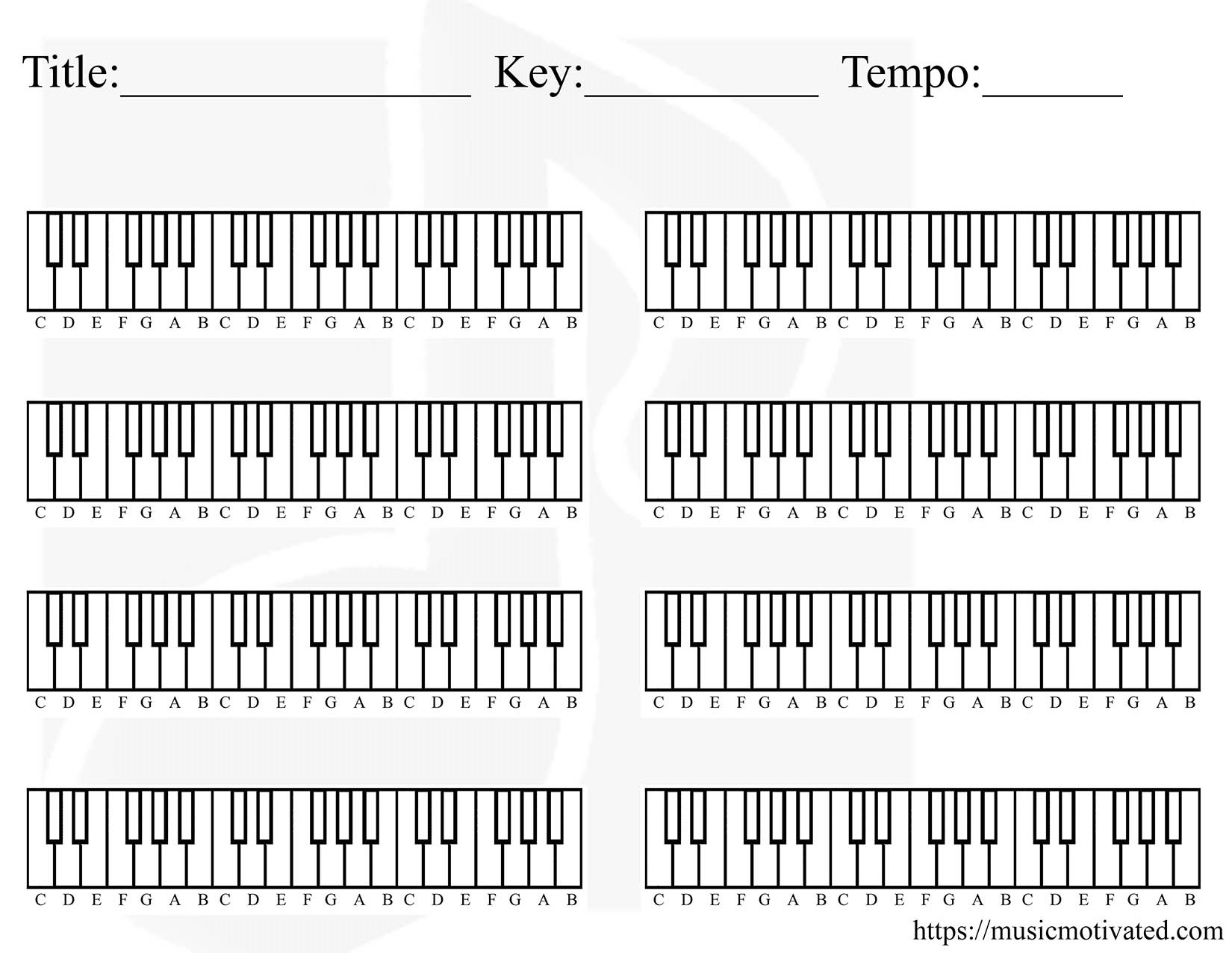 hight resolution of blank piano chart for creating a chord progression