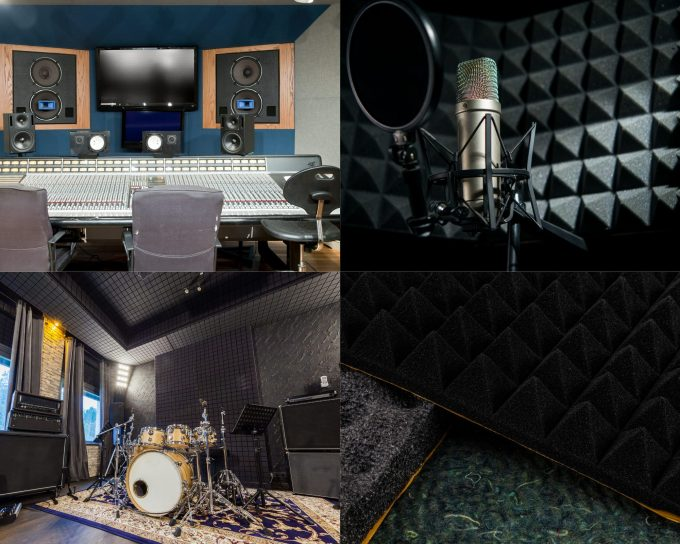 acoustic foams and equipment in recording music studio