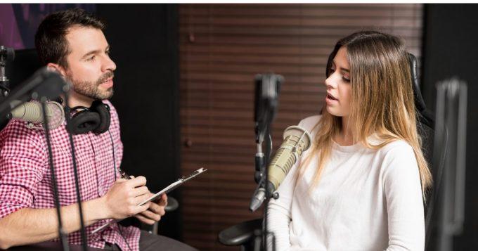 Radio station interview with female pop singer