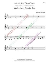 """wake Me, Shake Me"" Traditional, Lyrics, Music Notes, Inc"