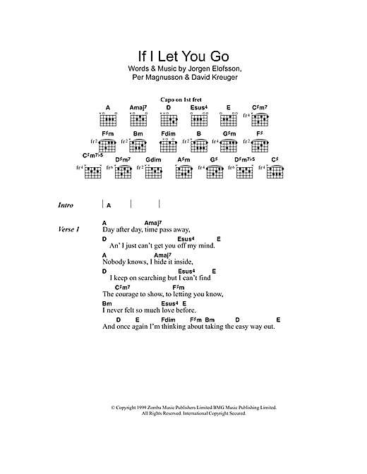 Chord If I Let You Go : chord, Westlife, Sheet, Music, Notes,, Chords, Keyboard, Download, 103217