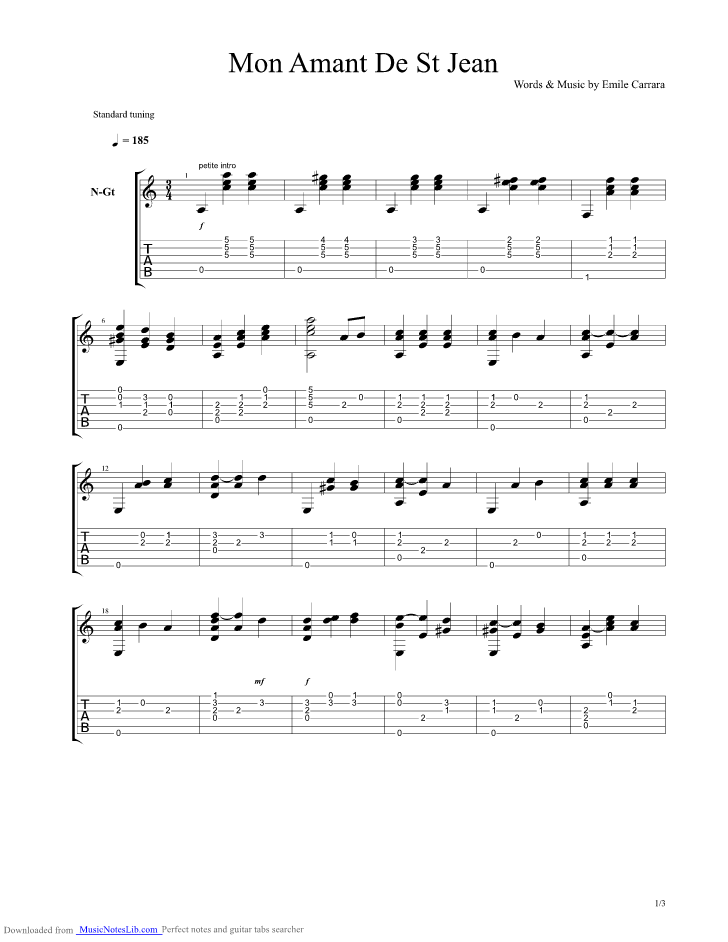 Patrick Bruel Mon Amant De Saint-jean : patrick, bruel, amant, saint-jean, Amant, Guitar, Patrick, Bruel, Musicnoteslib.com