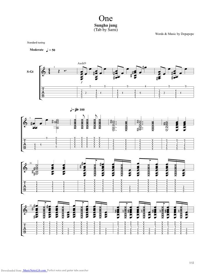 Tab Depapepe One : depapepe, Depapepe, Guitar, Sungha, Musicnoteslib.com