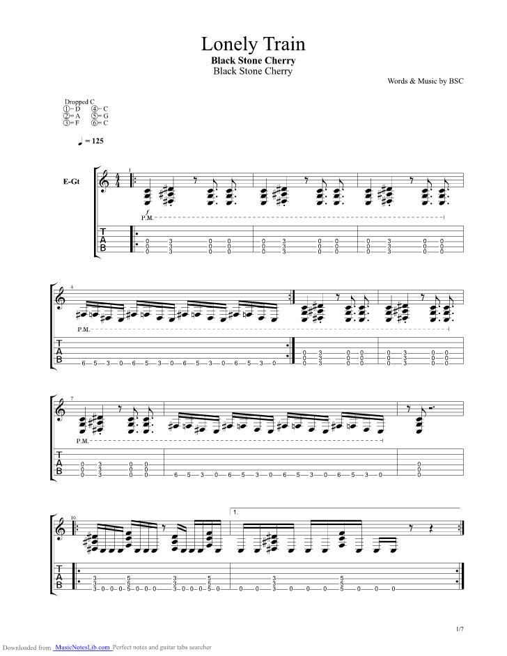 Lonely Train Guitar Pro Tab By Black Stone Cherry