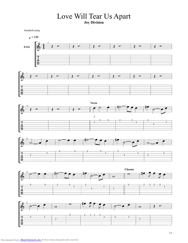 Love Will Tear Us Apart Guitar Pro Tab By Joy Division