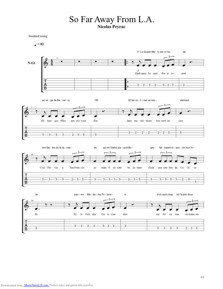Nicolas Peyrac So Far Away : nicolas, peyrac, Guitar, Peyrac, Nicolas, Musicnoteslib.com