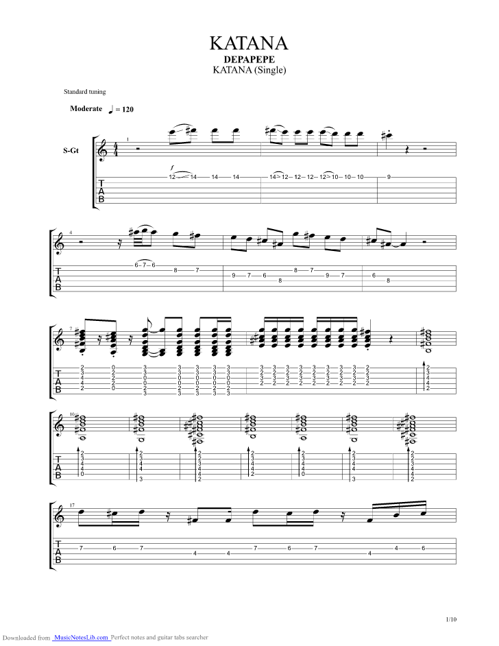 Tab Depapepe One : depapepe, Katana, Guitar, Depapepe, Musicnoteslib.com