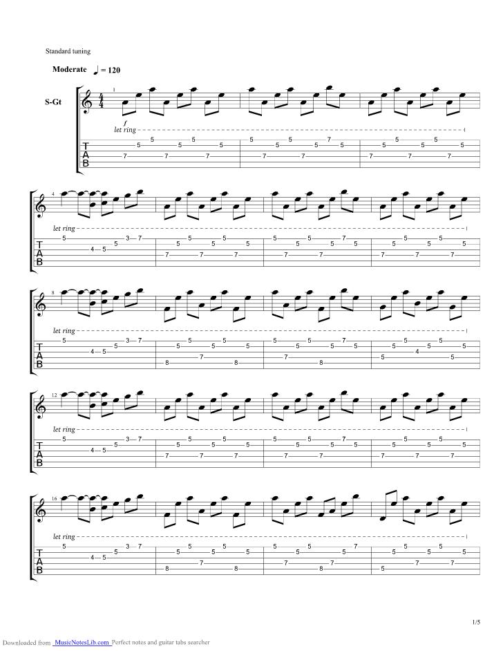 Una Mattina guitar pro tab by Einaudi @ musicnoteslib.com