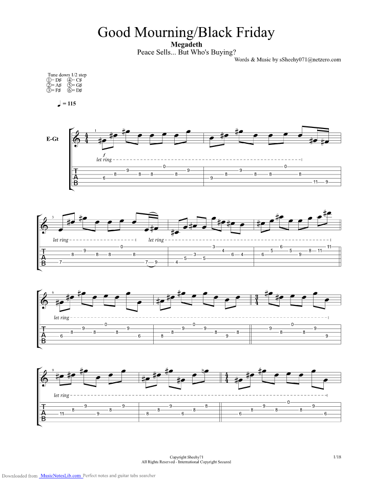 Good Mourning Black Friday Guitar Pro Tab By Megadeth