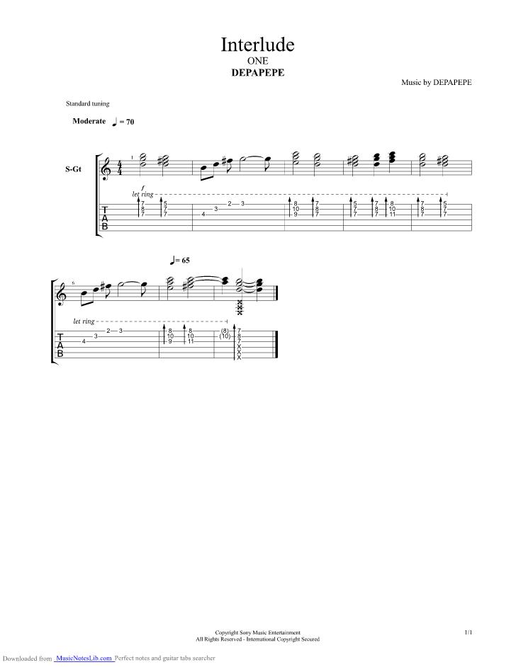 Tab Depapepe One : depapepe, Interlude, Guitar, Depapepe, Musicnoteslib.com