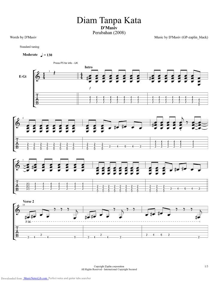 chord gitar D Masiv - Diam Tanpa Kata | CBRINLOVE