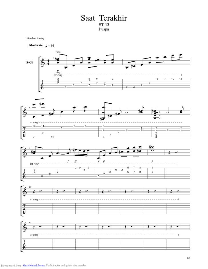 Chord St12 Saat Terakhir : chord, terakhir, Terakhir, Guitar, Musicnoteslib.com