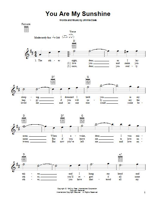 You Are My Sunshine Ukulele Notes : sunshine, ukulele, notes, Jimmie, Davis, Sunshine, Sheet, Music, Notes,, Chords, Download, Country, Ukulele, Print, 81055