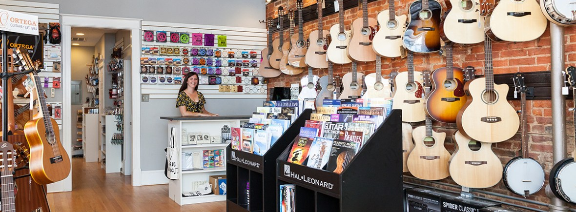 Store with instruments, music, retail desk