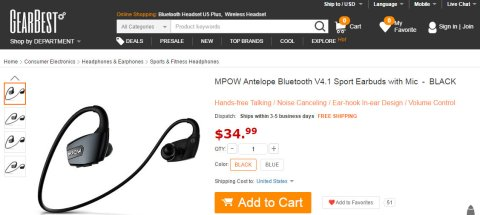 MPOW Antelope Bluetooth V4.1 Sport Earbuds with Mic-34.99 and Free Shipping GearBest.com