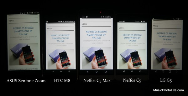 Compare display brightness with Neffos C5, Neffos C5 Max, HTC One M8, ASUS Zenfone Zoom, LG G5