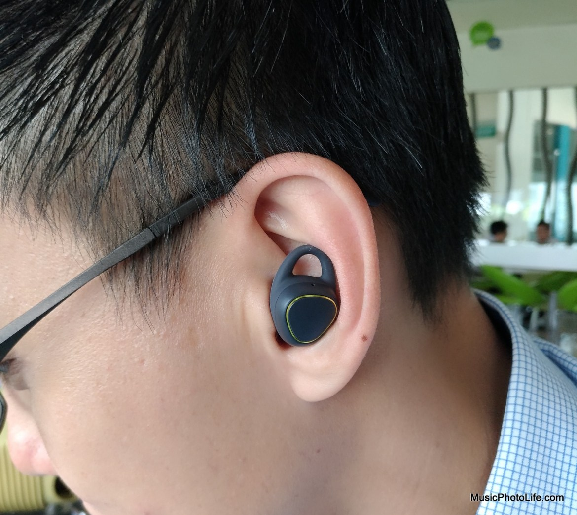Samsung Gear IconX on ear